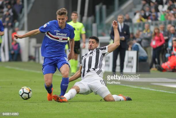 Dennis Praet and Sami Khedira competes for the ball during the Serie A football match between Juventus FC and US Sampdoria at Allianz Stadium on 15...