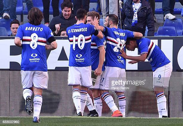 Dennis Praet celebrates after scoring goal 11 during the Serie A match between UC Sampdoria and AS Roma at Stadio Luigi Ferraris on January 29 2017...