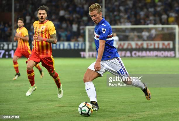 Dennis Praet in action during the Serie A match between UC Sampdoria and Benevento Calcio at Stadio Luigi Ferraris on August 20 2017 in Genoa Italy