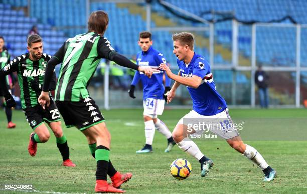Dennis Praet in action during the Serie A match between UC Sampdoria and US Sassuolo at Stadio Luigi Ferraris on December 17 2017 in Genoa Italy