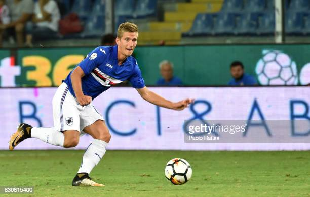Dennis Praet in action during the TIM Cup match between UC Sampdoria and Foggia at Stadio Luigi Ferraris on August 12 2017 in Genoa Italy