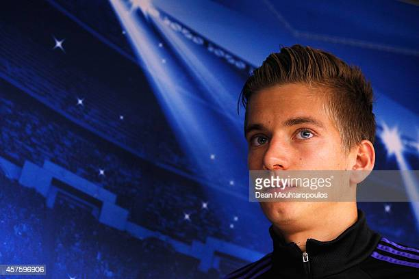 Dennis Praet looks on after he speaks to the media during the RSC Anderlecht Press Conference held at Constant Vanden Stock Stadium on October 21...