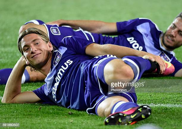 Dennis Praet midfielder of RSC Anderlecht played his last game with RSCA pictured during europa league match play off between RSC Anderlecht and...