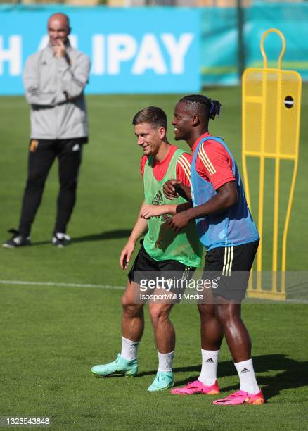 """Dennis Praet of Belgium and Michy Batshuayi of Belgium during a training session of the Belgian national soccer team """" The Red Devils """" ahead of the..."""