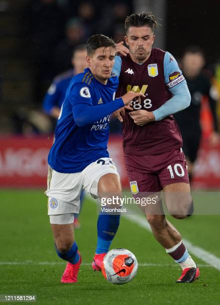 Dennis Praet of Leicester City and Jack Grealish of Aston Villa during the Premier League match between Leicester City and Aston Villa at The King...