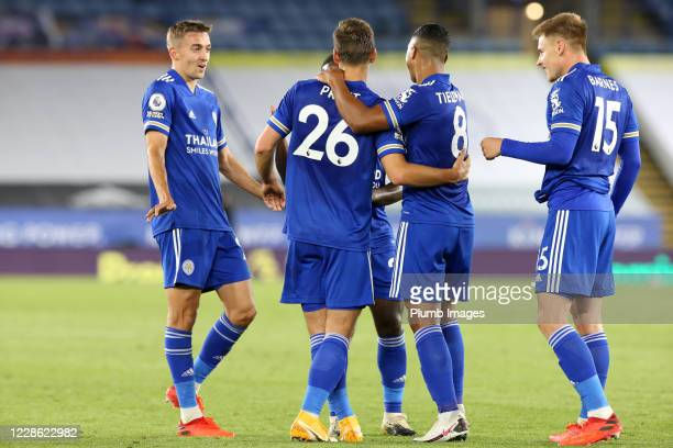 Dennis Praet of Leicester City celebrates with Timothy Castagne of Leicester City Youri Tielemans of Leicester City Nampalys Mendy of Leicester City...
