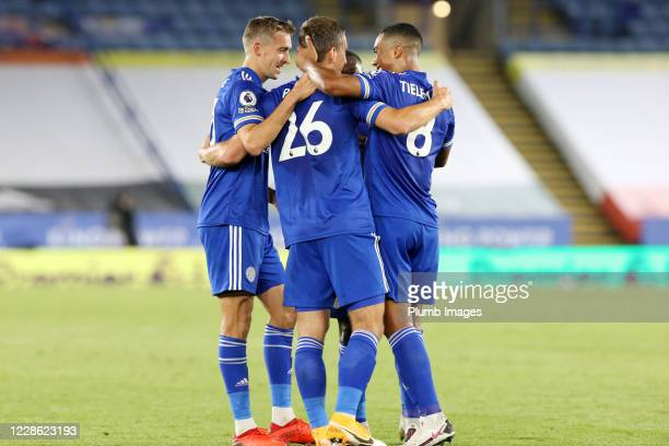 Dennis Praet of Leicester City celebrates with Timothy Castagne of Leicester City, Youri Tielemans of Leicester City and Nampalys Mendy of Leicester...