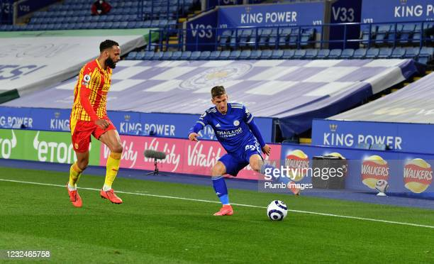 Dennis Praet of Leicester City during the Premier League match between Leicester City and West Bromwich Albion at The King Power Stadium on April 22,...