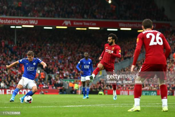 Dennis Praet of Leicester City during the Premier League match between Liverpool FC and Leicester City at Anfield on October 5 2019 in Liverpool...