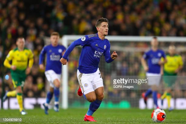 Dennis Praet of Leicester City in action during the Premier League match between Norwich City and Leicester City at Carrow Road Final Score Norwich...
