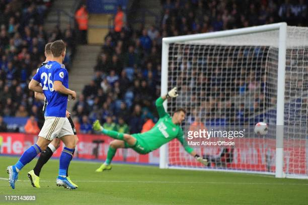 Dennis Praet of Leicester City score their 3rd goal via a deflection from Paul Dummett of Newcastle United during the Premier League match between...