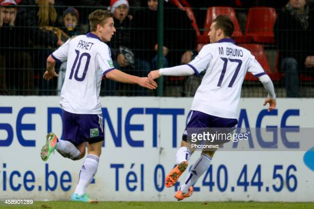 Dennis Praet of RSC Anderlecht celebrates scoring a goal with Massimo Bruno of RSC Anderlecht during the Jupiler League match between Standard Liege...