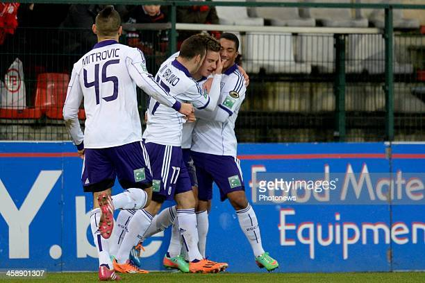 Dennis Praet of RSC Anderlecht celebrates scoring a goal with Aleksandar Mitrovic of RSC Anderlecht Massimo Bruno of RSC Anderlecht and Youri...