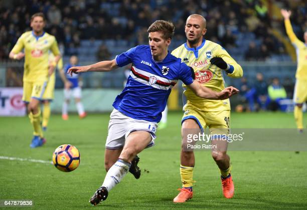 Dennis Praet of Sampdoria and Ahmad Benali during the Serie A match between UC Sampdoria and Pescara Calcio at Stadio Luigi Ferraris on March 4 2017...
