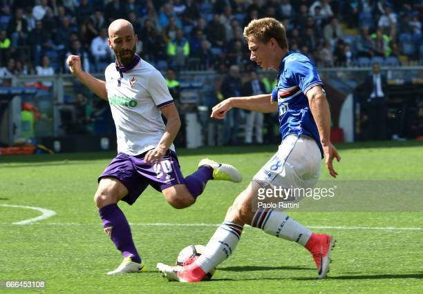 Dennis Praet of Sampdoria and Borja Valero of Fiorentina during the Serie A match between UC Sampdoria and ACF Fiorentina at Stadio Luigi Ferraris on...