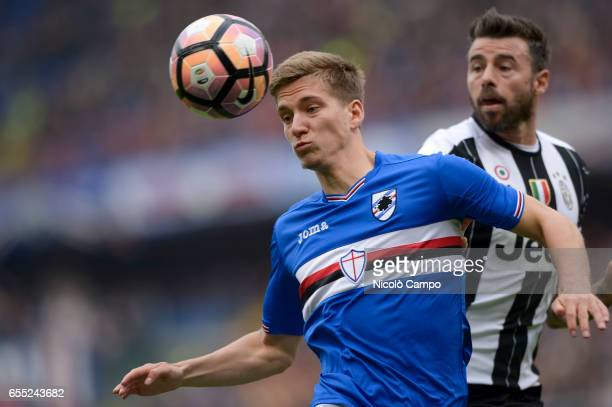 Dennis Praet of UC Sampdoria and Andrea Barzagli of Juventus FC compete for the ball during the Serie A football match between UC Sampdoria and...