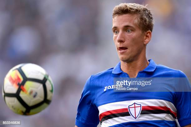 Dennis Praet of UC Sampdoria in action during the Serie A football match between UC Sampdoria and AC Milan UC Sampdoria wins 20 over AC Milan