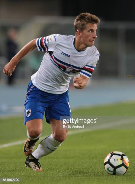 Dennis Praet of UC Sampdoria in action during the Serie A match between Hellas Verona FC and UC Sampdoria at Stadio Marc'Antonio Bentegodi on...