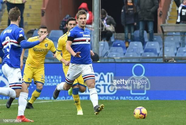 Dennis Praet of UC Sampdoria in action during the Serie A match between UC Sampdoria and Frosinone Calcio at Stadio Luigi Ferraris on February 10...