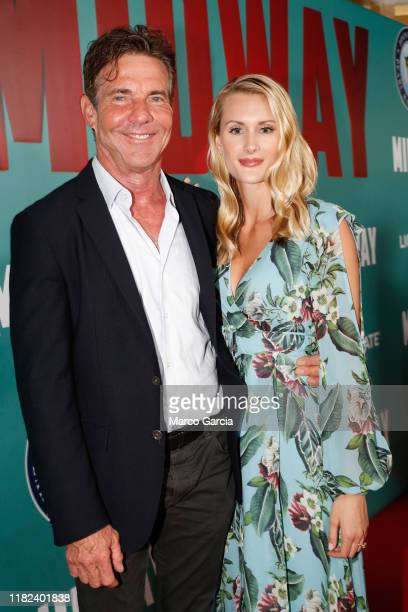 Dennis Quaid and fiancee Laura Savoie arrive at the Midway Special Screening at Joint Base Pearl HarborHickam on October 20 2019 in Honolulu Hawaii