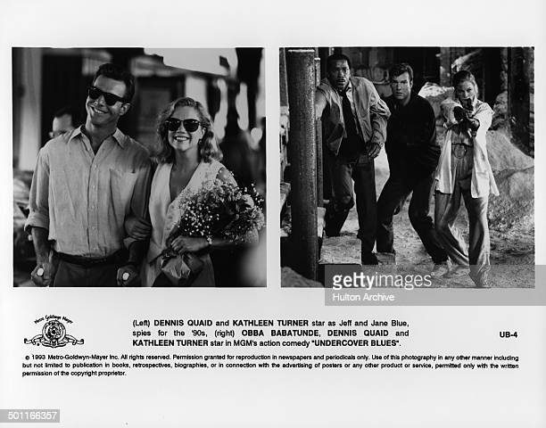 """Dennis Quaid and Kathleen Turner smile in a scene Dennis Quaid, Obba Babatundé and Kathleen Turner run in a scene in the MGM movie """"Undercover Blues""""..."""