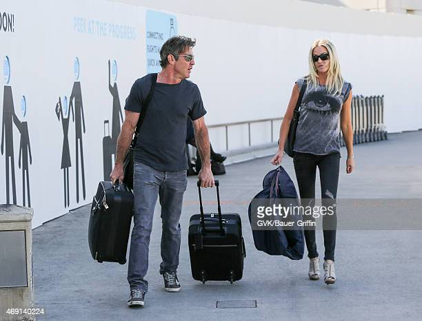 Dennis Quaid and Kimberly Buffington are seen at LAX on April 09 2015 in Los Angeles California