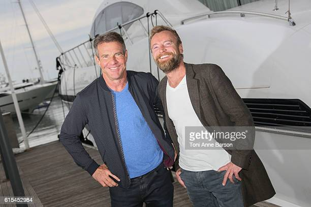 """Dennis Quaid and Richard Dormer attend Photocall for """"Fortitude 2"""" as part of MIPCOM at Palais des Festivals on October 17, 2016 in Cannes, France."""