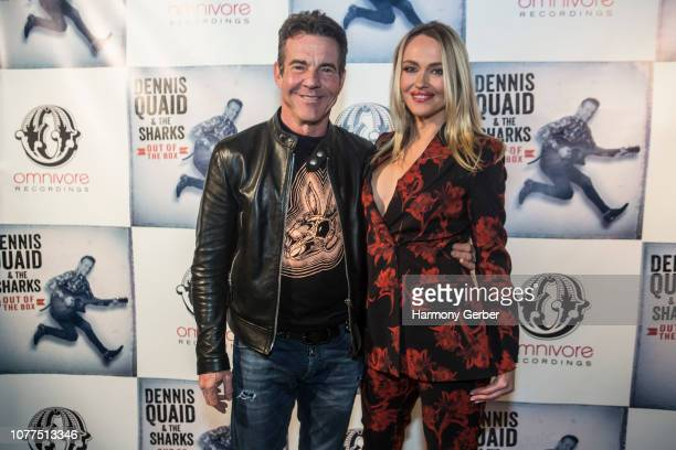 Dennis Quaid and Santa Auzina arrive at the Dennis Quaid & The Sharks Album Release Party at The Village on December 04, 2018 in Los Angeles,...