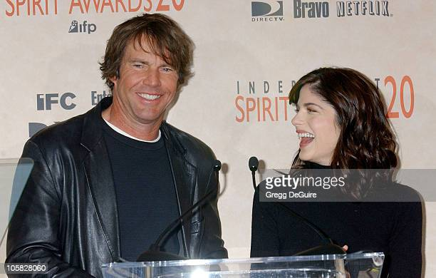 Dennis Quaid and Selma Blair during The 20th Annual IFP Independent Spirit Awards Nominations Announcement at Le Meridien Hotel in Los Angeles...