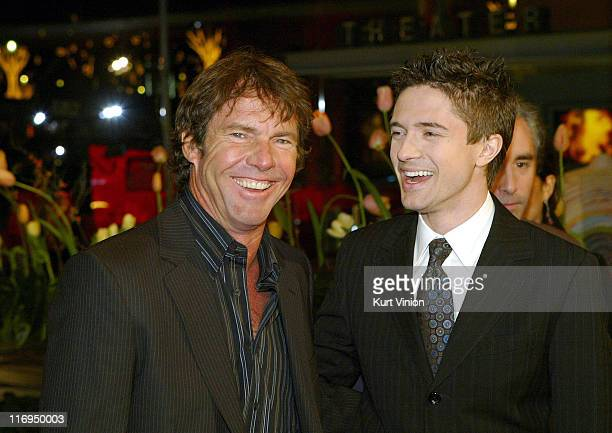 Dennis Quaid and Topher Grace during 55th Berlin International Film Festival 'In Good Company' Arrivals in Berlin Germany