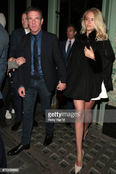Dennis Quaid and wife Kimberly Quaid seen leaving Sexy Fish restaurant in Mayfair on April 19 2017 in London England