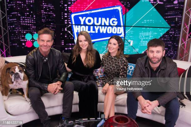 Dennis Quaid, Bridgit Mendler, Ashley Tisdale and Brent Morin from 'Merry Happy Whatever' visit the Young Hollywood Studio on November 2, 2019 in Los...