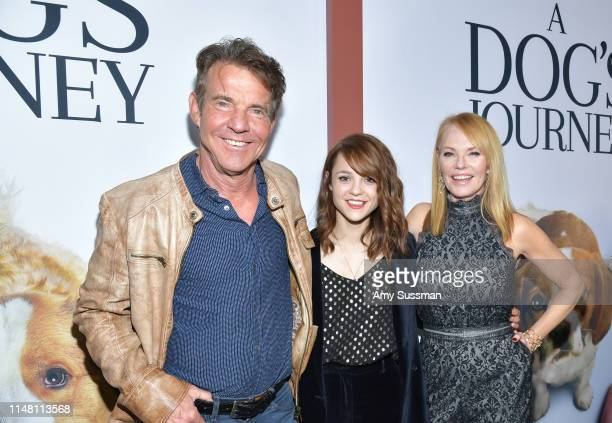 "Dennis Quaid, Kathryn Prescott and Marg Helgenberger attend the premiere of Universal Pictures' ""A Dog's Journey"" at ArcLight Hollywood on May 09,..."