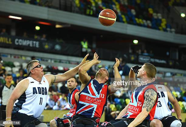 Dennis Ramsay of Australia and Adam Nixon of Great Britain in action during the Wheelchair Basketball match between Great Britain and Australia on...