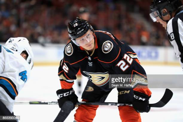 Dennis Rasmussen of the Anaheim Ducks looks on during the third period of a preseason game against the San Jose Sharks at Honda Center on September...