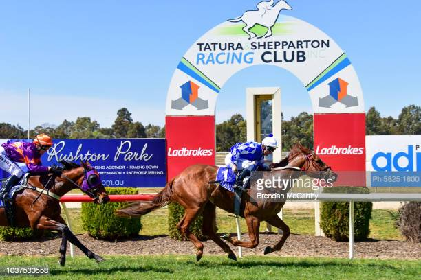 Millie the Missile and strapper Belinda Carlile after winning the Greater Shepparton City Sprint BM64 Handicap at Tatura Racecourse on September 22...
