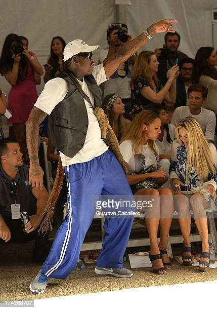 Dennis Rodman Alexis Rodman and Lisa Pliner attend Anna Kosturova/Beach Riot/Lolli Swim/Manglar/Indah show at MercedesBenz Fashion Week Swim 2014 at...
