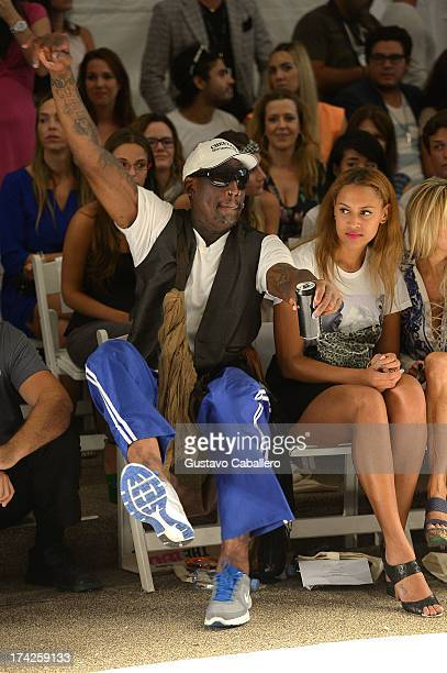 Dennis Rodman and Alexis Rodman attend Anna Kosturova/Beach Riot/Lolli Swim/Manglar/Indah show at MercedesBenz Fashion Week Swim 2014 at Cabana...