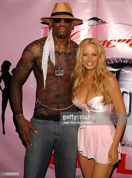Dennis Rodman and Cindy Margolis during Lingerie Bowl III National Kick Off Party at Cabana Club in Hollywood, California, United States.