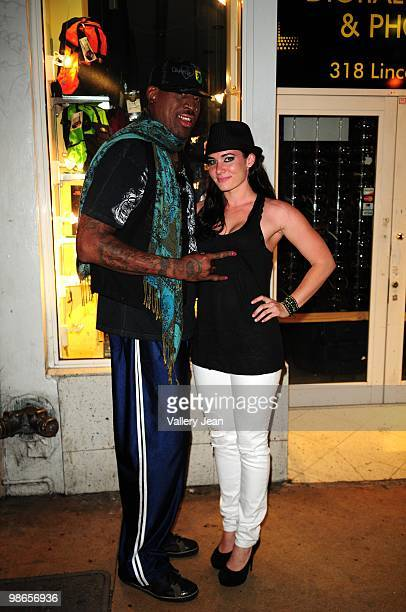 Dennis Rodman and female guest sighted heading to Carmen Electra Birthday party at Set nightclub on April 24 2010 in Miami Beach Florida