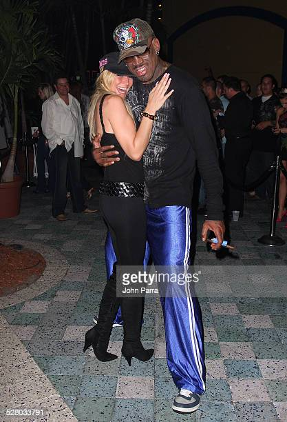 Dennis Rodman and guest attend the 4th Anniversary Party at Pangaea Nightclub at Seminole Hard Rock Hotel and Casino on February 28 2009 in Hollywood...