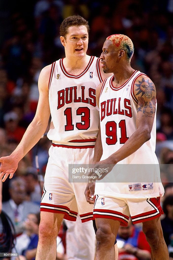 Dennis Rodman and Luc Longley of the Chicago Bulls discuss