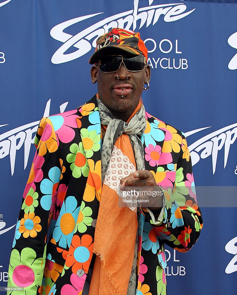 Dennis Rodman arrives at the grand opening of the Sapphire Pool & Day Club on May 5, 2013 in Las Vegas, Nevada.