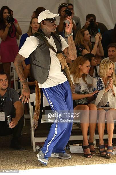 Dennis Rodman attends Anna Kosturova/Beach Riot/Lolli Swim/Manglar/Indah show at MercedesBenz Fashion Week Swim 2014 at Cabana Grande at the Raleigh...