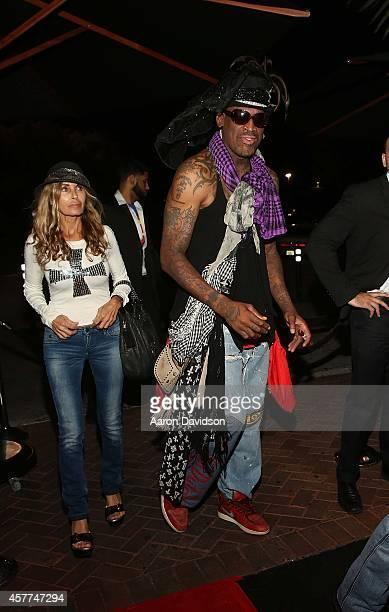Dennis Rodman attends Berman and Berman Fright Night at Blue Martini on October 23 2014 in Boca Raton Florida