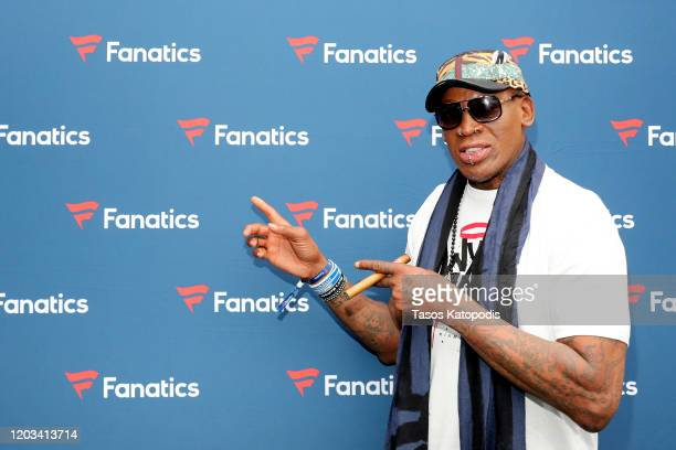 Dennis Rodman attends Michael Rubin's Fanatics Super Bowl Party at Loews Miami Beach Hotel on February 01 2020 in Miami Beach Florida