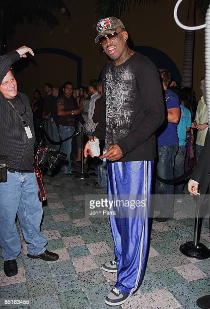 Dennis Rodman attends the 4th Anniversary Party at Pangaea Nightclub at Seminole Hard Rock Hotel and Casino on February 28 2009 in Hollywood Florida