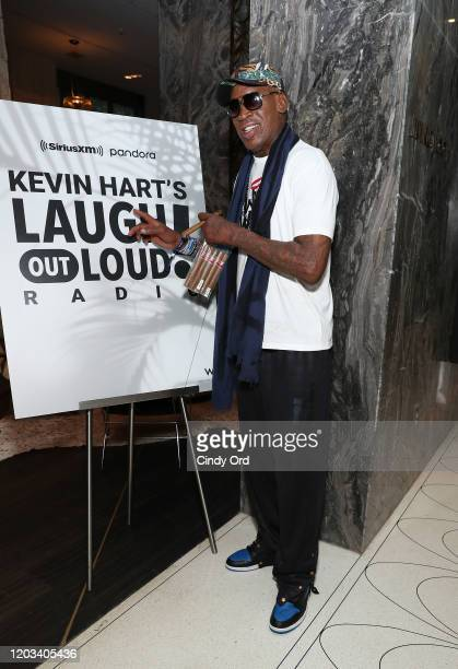 Dennis Rodman attends the Kevin Hart and The Plastic Cup Boyz Special Edition of SiriusXM's Straight From The Hart Live From The W Hotel South Beach...