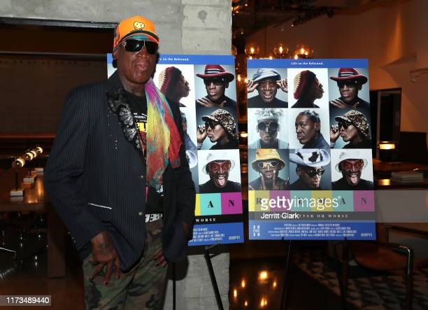 "Dennis Rodman attends the LA Special Screening Of ESPN's 30 for 30 documentary ""Rodman: For Better or Worse"" at NeueHouse Los Angeles on September..."