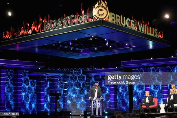 Dennis Rodman, Bruce Willis, Nikki Glaser and Kevin Pollak speak onstage during the Comedy Central Roast of Bruce Willis at Hollywood Palladium on...